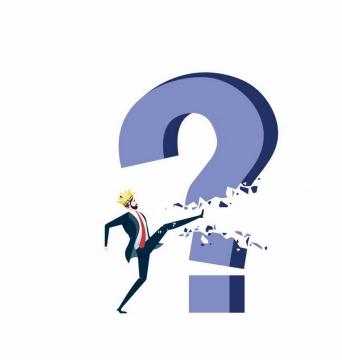 戴着皇冠的卡通商务人士一脚踢碎了问号象征了解决问题的方法png图片免抠矢量素材