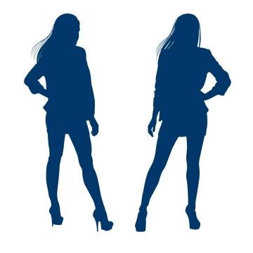 两个蓝色的职业装女性美女剪影免扣图片素材