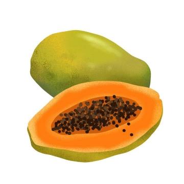 手绘风格切开的红心牛奶青木瓜热带水果图片免扣素材