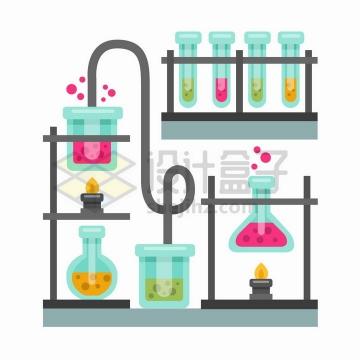 MBE风格酒精灯烧杯试管锥形瓶等化学实验仪器png图片免抠矢量素材