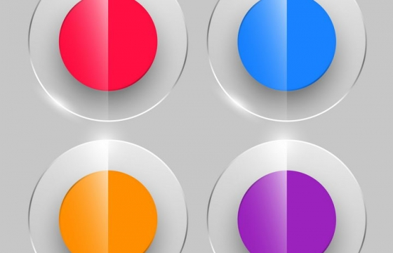 4款半透明玻璃效果彩色圆形水晶按钮图片免抠矢量素材