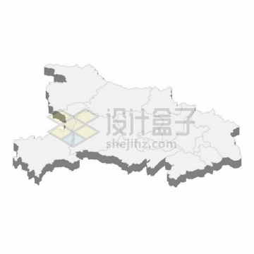 湖北省地图3D立体阴影行政划分地图199078png矢量图片素材