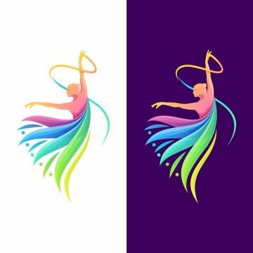 翩翩起舞的彩色跳舞舞蹈舞者logo设计方案png图片免抠矢量素材