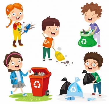 卡通男孩女孩打扫卫生和垃圾分类手抄报png图片免抠eps矢量素材