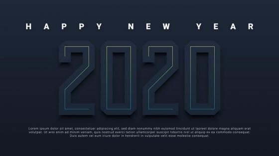 创意黑色立体风格2020年艺术字体免抠图片素材