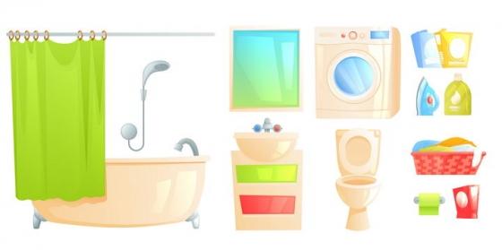 卡通风格卫生间设施浴缸洗衣机抽水马桶图片免抠素材