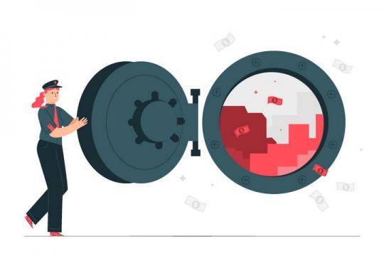 扁平插画风格银行保险柜金库大门图片免抠矢量图素材