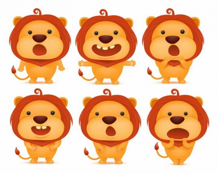 6款可爱的卡通小狮子做出各种表情png图片免抠矢量素材