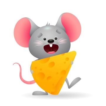 可爱吃奶酪的卡通小老鼠图片免抠矢量图素材