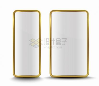 2款金色金属光泽圆角长方形边框按钮png图片素材