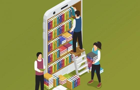 抽象2.5D风格手机样式的书架上有一群正在整理图书的年轻人象征了手机阅读图片免抠矢量素材