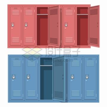 红色和蓝色的工厂存包柜更衣室柜子png图片免抠矢量素材