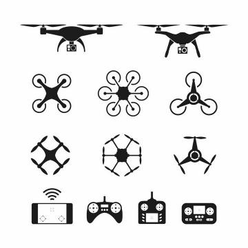 各种黑色无人机四轴飞行器遥控飞机遥控器剪影png图片免抠矢量素材