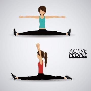 两款扁平化风格正在做拉伸劈叉动作的健身女孩免扣图片素材