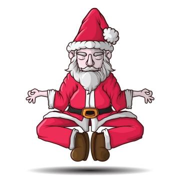 卡通漫画风格正在打坐的圣诞老人免抠图片素材