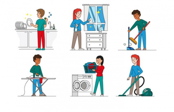 6款正在打扫卫生洗碗擦窗户扫地烫衣服做家务的卡通小人图片免抠矢量图素材
