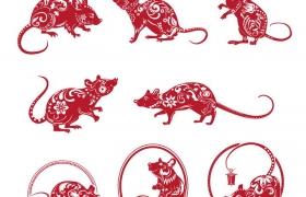 8款红色老鼠鼠年剪纸图片免抠矢量图素材