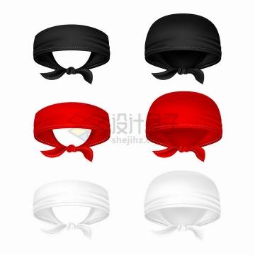 3款红色黑色的海盗头巾png图片免抠矢量素材