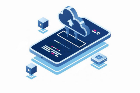 2.5D风格智能手机和云计算技术连接在一起png图片免抠矢量素材