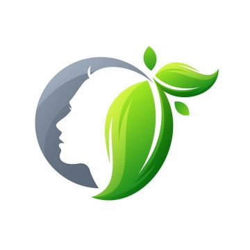 创意绿色树叶组成的头发美容美发logo设计方案png图片免抠矢量素材