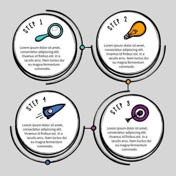 手绘素描风格圆形流程图步骤图信息文本框等PPT图表图片免抠矢量素材