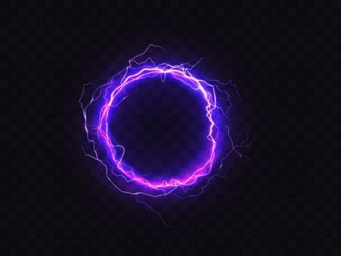 绚丽紫色发光闪电光圈效果图片免抠素材