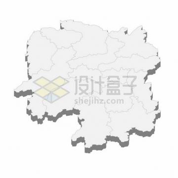 湖南省地图3D立体阴影行政划分地图101476png矢量图片素材