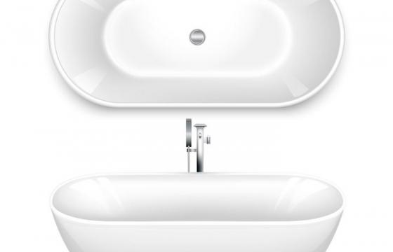 白色浴缸两种角度的视图图片免抠素材