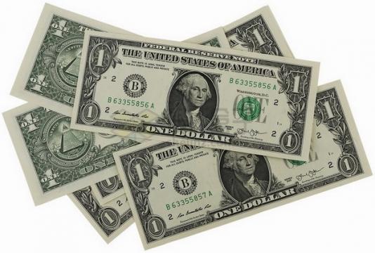 几张1美元钞票纸币png图片素材