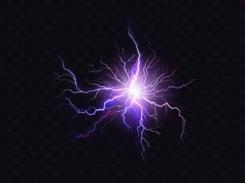 绽放的紫色发光闪电效果图片免抠素材