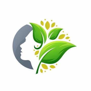 创意发芽的树叶组成的头发美容美发logo设计方案png图片免抠矢量素材
