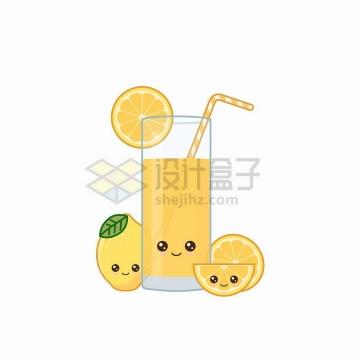 卡通橙子和一杯橙子汁美味果汁自带表情png图片免抠矢量素材