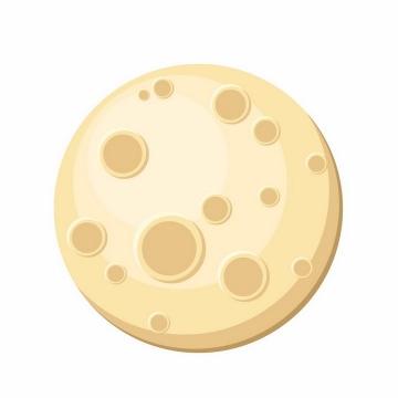 布满陨石坑的扁平化黄色月球月亮png图片免抠矢量素材