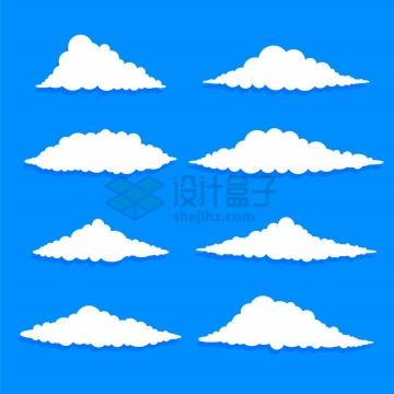 8款卡通风格的白云带阴影png图片免抠矢量素材