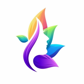 彩色树叶组成的美女侧影头发美容美发logo设计方案png图片免抠矢量素材