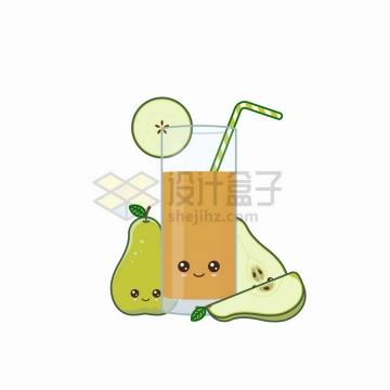 卡通梨子和一杯梨汁美味果汁自带表情png图片免抠矢量素材
