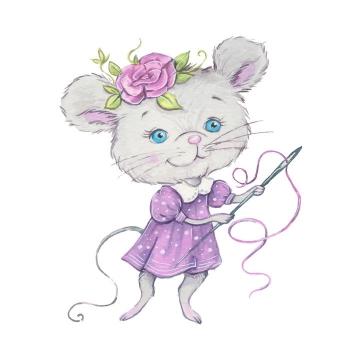手绘卡通风格拿着缝衣针的小老鼠妹妹图片免抠矢量图素材
