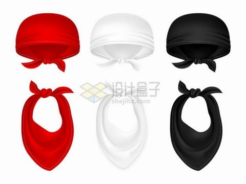 红白黑色海盗头巾和脖巾png图片免抠矢量素材