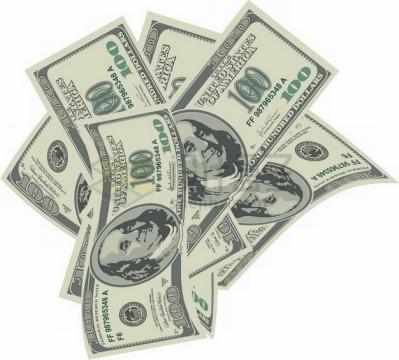 杂乱放置的100美元钞票纸币png图片素材
