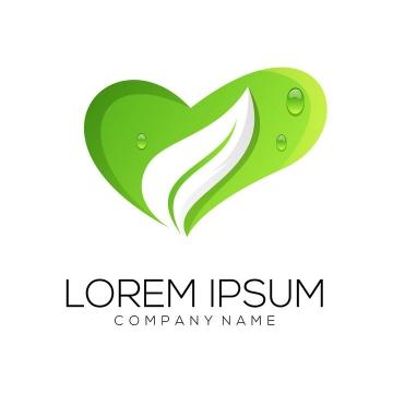 创意绿色心形图案树叶形状LOGO设计方案图片免抠矢量素材