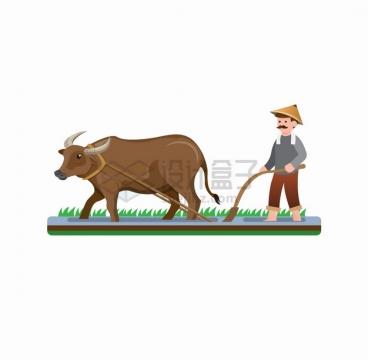 卡通农民和水牛犁地耕地png图片素材