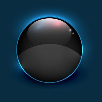 蓝色发光效果黑色圆形水晶按钮图片免抠矢量素材