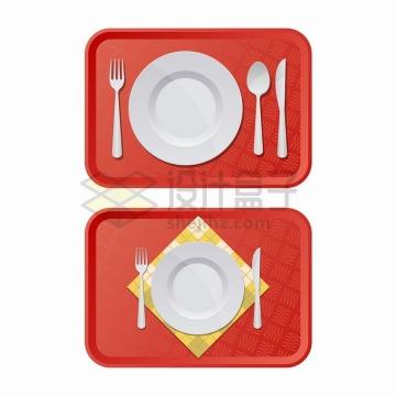 俯视视角的红色餐盘和上面的盘子刀叉等西餐餐具png图片免抠矢量素材
