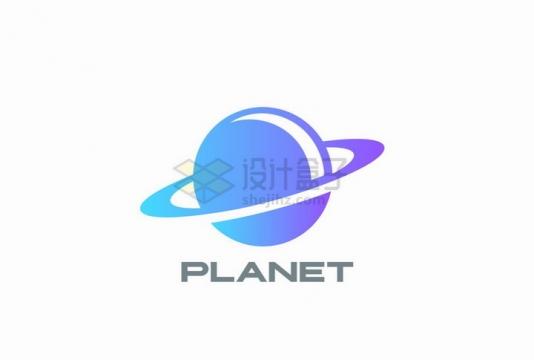蓝紫色的土星logo设计方案png图片免抠矢量素材