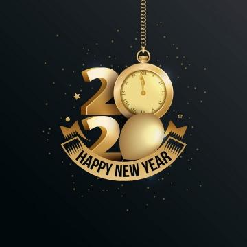 创意立体风格时钟金色2020年艺术字体新年快乐免抠图片素材