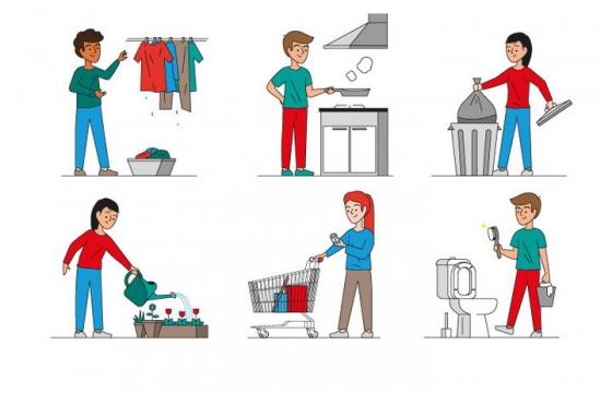 6款晾衣服炒菜扔垃圾浇花刷马桶做家务的卡通小人图片免抠矢量图素材