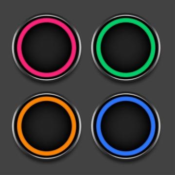 4款漂亮的彩色发光圆环黑色按钮图片免抠矢量素材