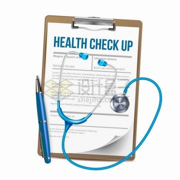 逼真的医院蓝色听诊器圆珠笔和诊断记录单png图片免抠矢量素材