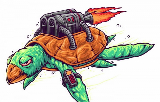 背上装了火箭发动机的海龟蒸汽朋克风格乌龟png图片免抠矢量素材