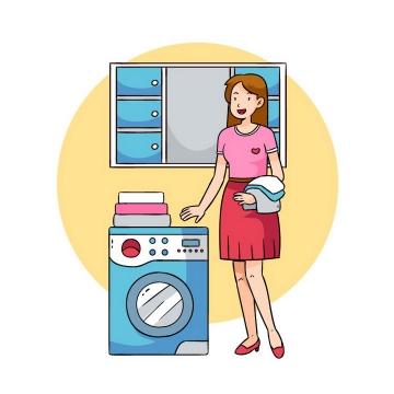 正在用洗衣机洗衣服的卡通美女图片免抠矢量图素材